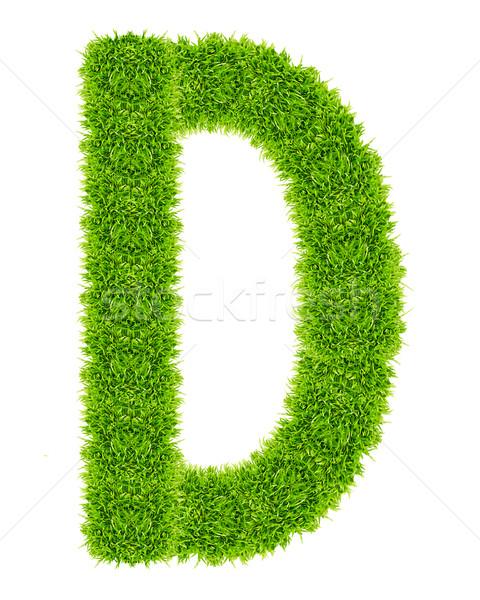 Zöld fű d betű izolált iskola művészet levél Stock fotó © tungphoto