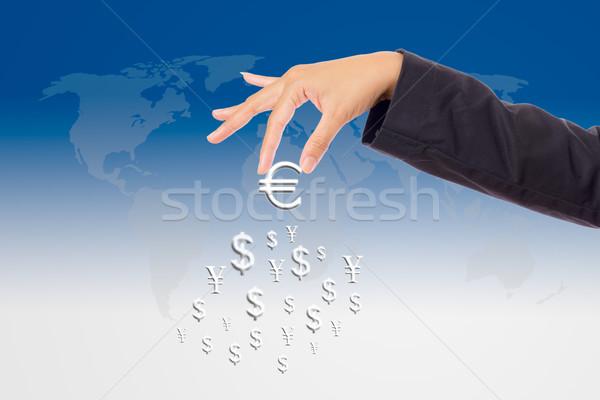 Hand omhoog groot euro teken geld Stockfoto © tungphoto