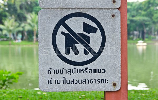 no dog and cat sign in park Stock photo © tungphoto