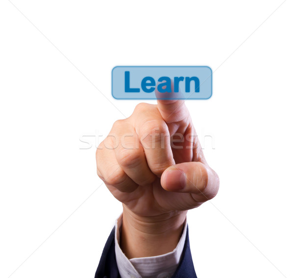 business man hand pushing learn button isolated Stock photo © tungphoto