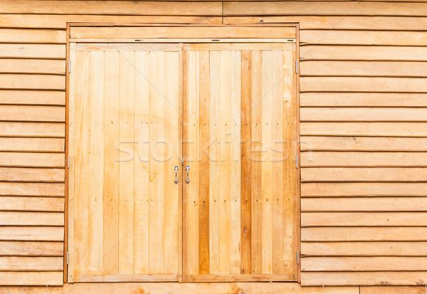 Houten deur gebouw ontwerp home mooie Stockfoto © tungphoto