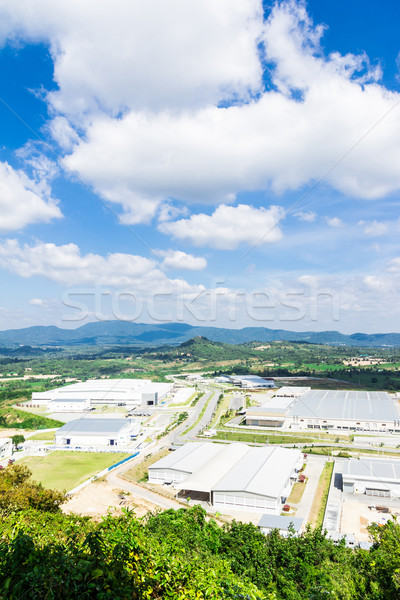 industrial estates zone with cloud blue sky and shadow Stock photo © tungphoto