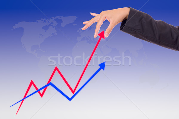 hand bring up the graph Stock photo © tungphoto