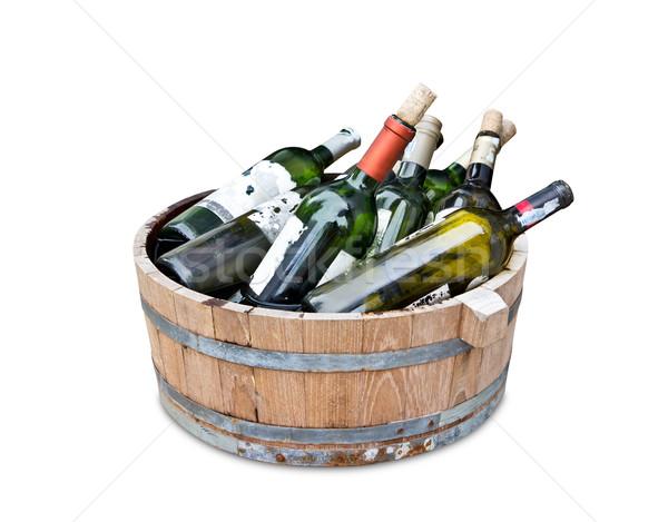Pusty wina butelek drewna zbiornika Zdjęcia stock © tungphoto