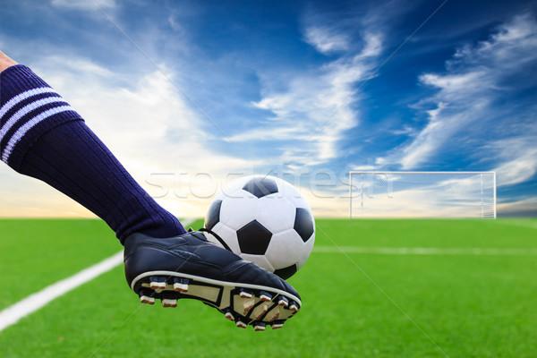 foot kicking soccer ball Stock photo © tungphoto