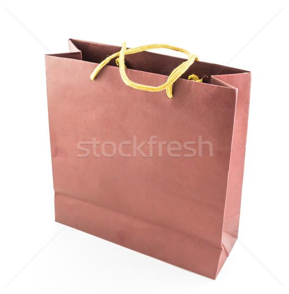Carta marrone bag isolato bianco rosso store Foto d'archivio © tungphoto