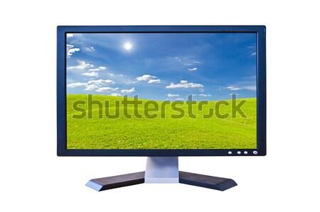 зеленый лист ЖК контроля изолированный компьютер фильма Сток-фото © tungphoto