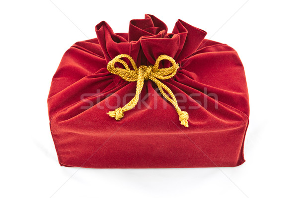 red fabric gift bag isolated Stock photo © tungphoto