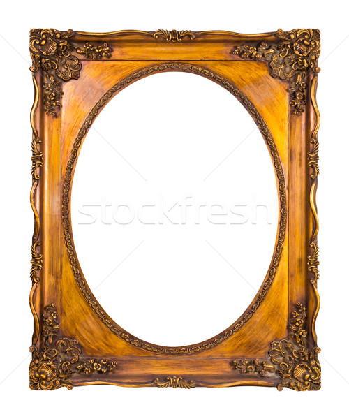 frame of golden wood isolated with clipping path Stock photo © tungphoto