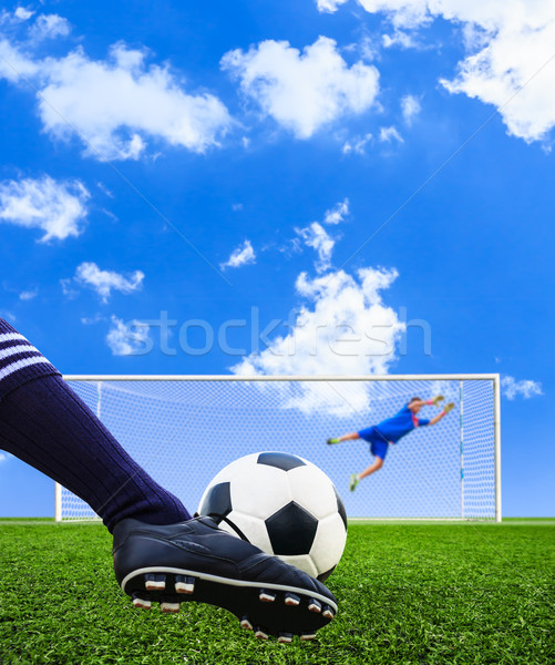 Voet schieten voetbal doel boete voetbal Stockfoto © tungphoto