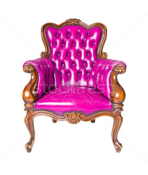 高級 ピンク 革 アームチェア 孤立した ファッション ストックフォト © tungphoto