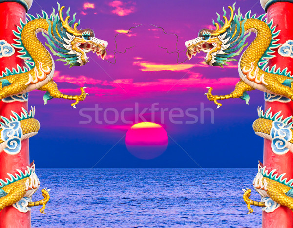 龍 像 日没 空 太陽 旅行 ストックフォト © tungphoto