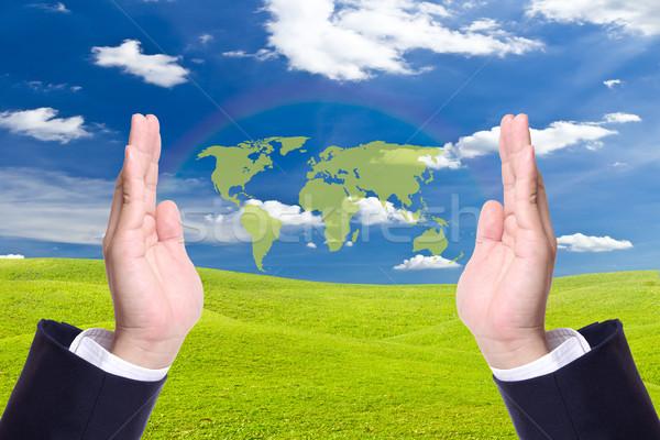 Foto stock: Verde · mapa · do · mundo · homem · de · negócios · mão · mundo · educação