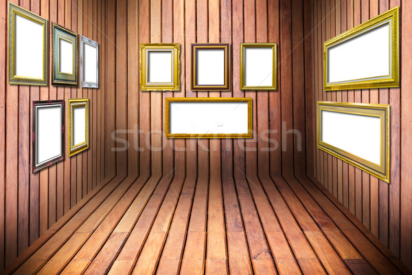 golden wood frame in wooden room Stock photo © tungphoto