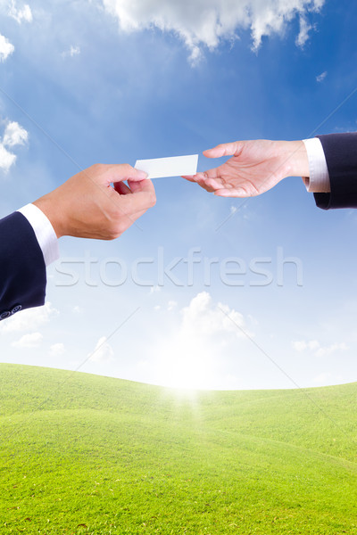 Stock photo: business man hand giving name card