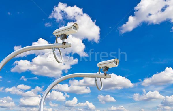 Zdjęcia stock: Zewnątrz · cctv · kamery · Błękitne · niebo · bezpieczeństwa · niebo