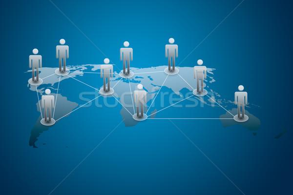 Közösségi háló férfi hálózat kék csoport kommunikáció Stock fotó © tungphoto