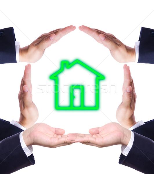 Otthon ikon kéz gyártmány ház izolált Stock fotó © tungphoto