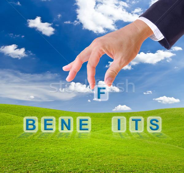 ビジネスマン 手 メリット 言葉 ボタン 緑の草 ストックフォト © tungphoto