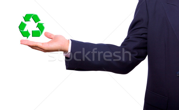 üzletember kéz újrahasznosít felirat zöld világ Stock fotó © tungphoto