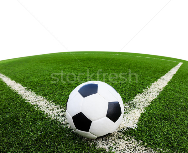 футбольным мячом зеленая трава области изолированный белый Футбол Сток-фото © tungphoto