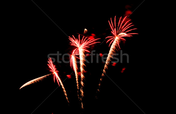 Fogos de artifício preto céu fumar estrelas verde Foto stock © tungphoto