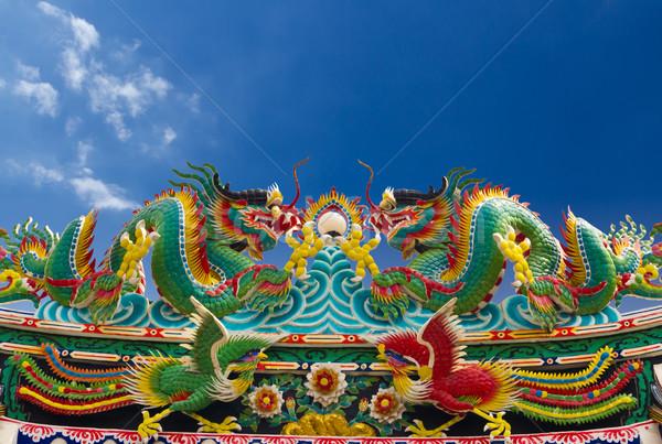 Twin dragon statue isolated Stock photo © tungphoto