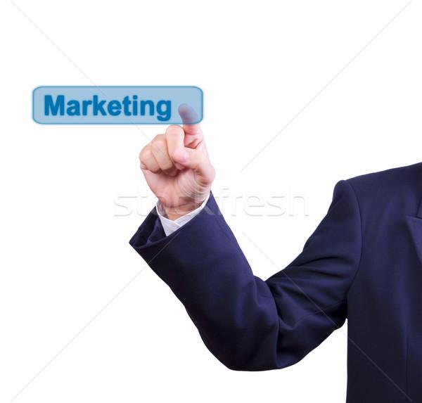 Zakenman hand voortvarend marketing knop geïsoleerd Stockfoto © tungphoto