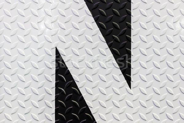 Feketefehér figyelmeztető jel gyémánt acél tányér háttér Stock fotó © tungphoto
