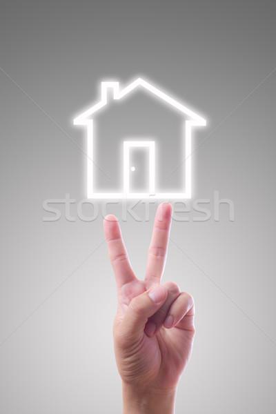 Stock fotó: Kéz · mutat · ház · ikon · üzlet · iroda