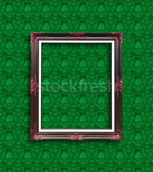 Frame groene behang achtergrond metaal vak Stockfoto © tungphoto