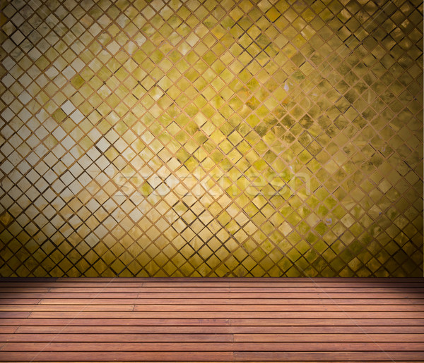 golden mosaic wall and wood floor Stock photo © tungphoto