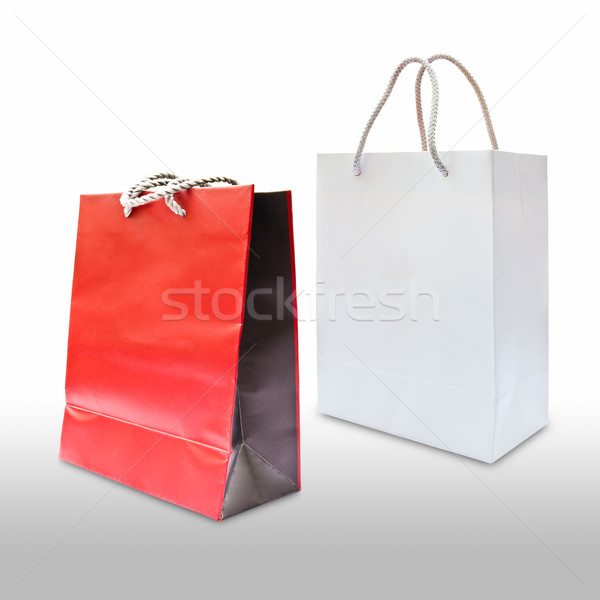 red and white paper shopping bag isolated Stock photo © tungphoto