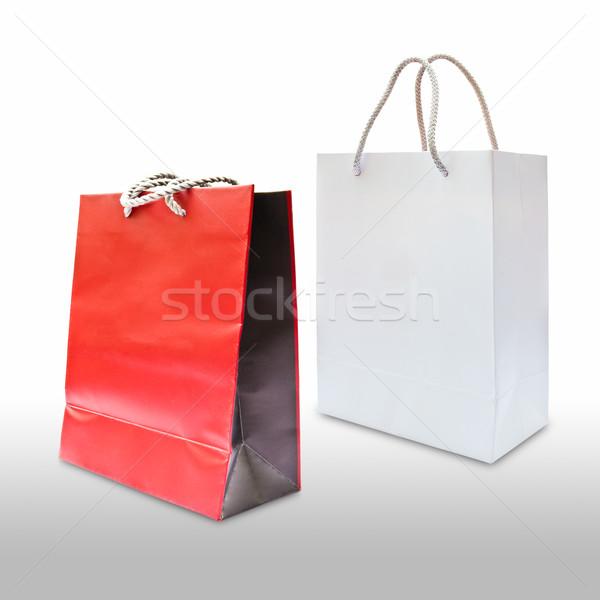 Piros fehér papír bevásárlószatyor izolált táska Stock fotó © tungphoto