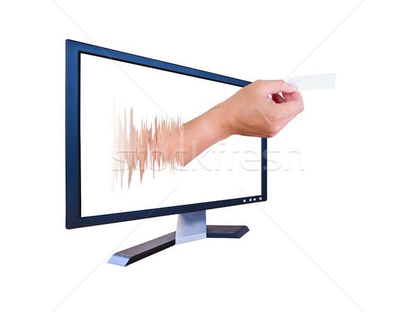 Hand lcd monitor geven naam kaart Stockfoto © tungphoto