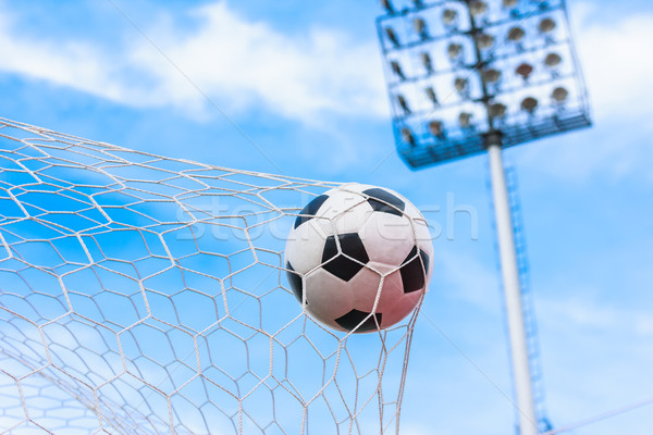 soccer ball in goal net Stock photo © tungphoto