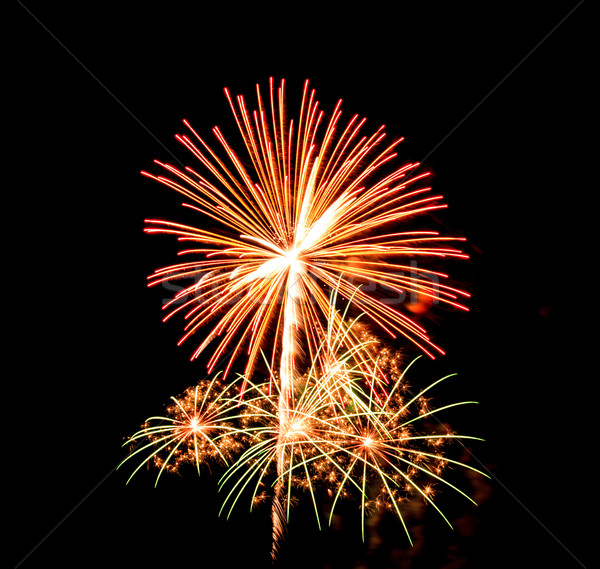 Vuurwerk zwarte hemel rook sterren groene Stockfoto © tungphoto