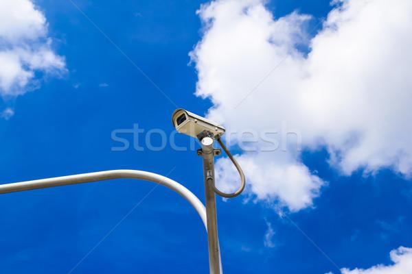 Inwigilacja kamery Błękitne niebo niebo miasta słońce Zdjęcia stock © tungphoto