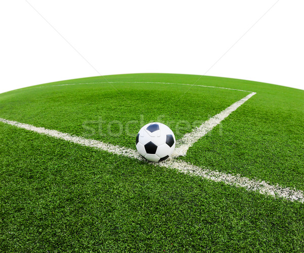 Voetbal groen gras veld geïsoleerd witte voetbal Stockfoto © tungphoto