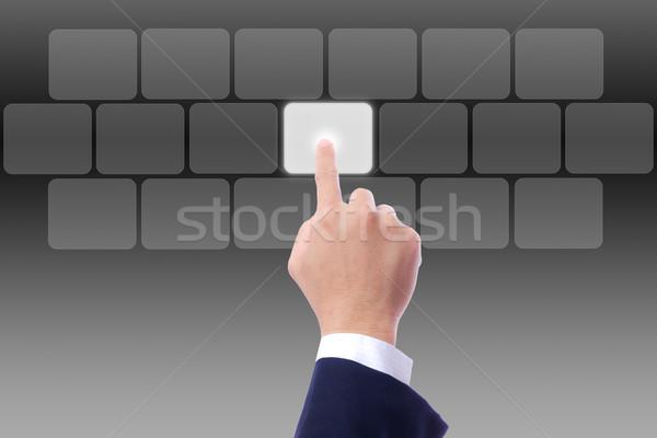 Stockfoto: Hand · voortvarend · knop · computer · sleutel