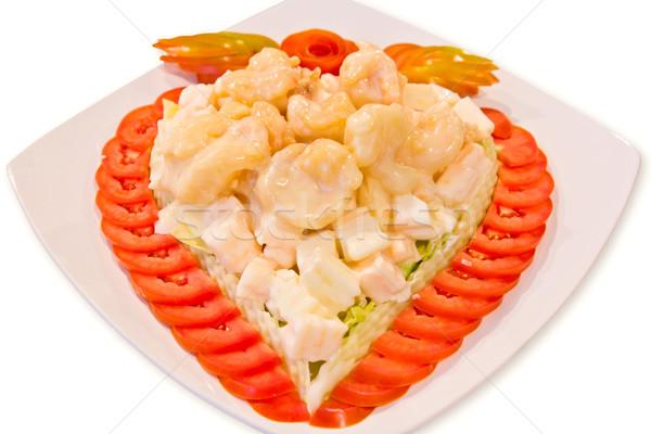 fired shrimp and fruit salad Stock photo © tungphoto