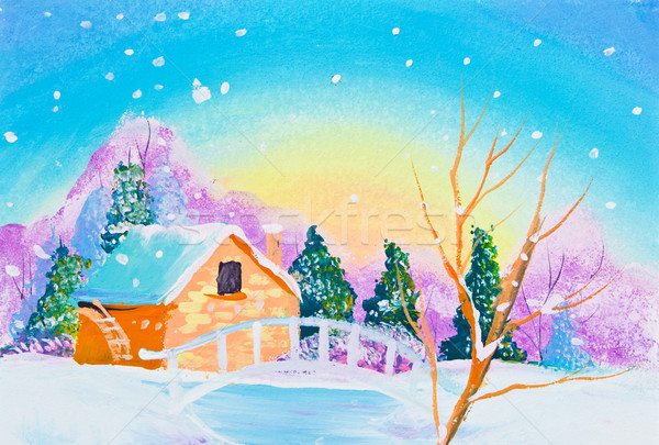 drawing of house and snow Stock photo © tungphoto