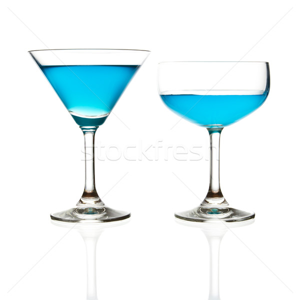 Wijnglas Blauw cocktail geïsoleerd water achtergrond Stockfoto © tungphoto