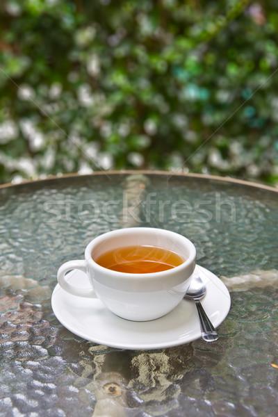 Copo chá vidro tabela verão café da manhã Foto stock © tungphoto
