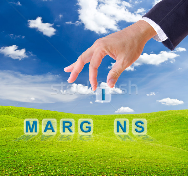 business man hand made margins word buttons Stock photo © tungphoto