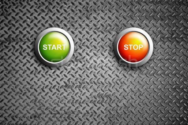 start and stop buttons on diamond steel texture Stock photo © tungphoto