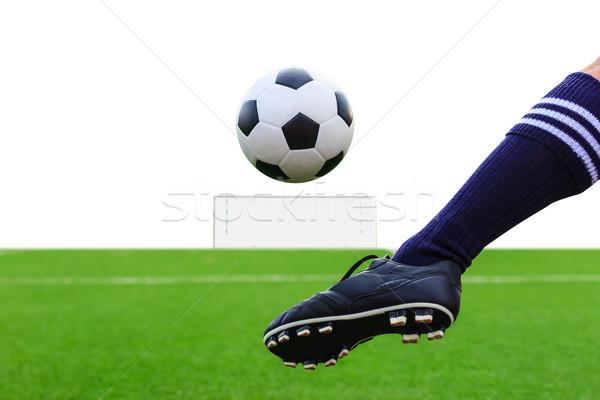 Láb rúg futballabda izolált sport nyár Stock fotó © tungphoto
