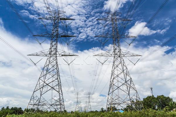Nagyfeszültség erő kék ég égbolt technológia keret Stock fotó © tungphoto