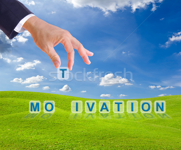 business man hand made motivation word buttons Stock photo © tungphoto