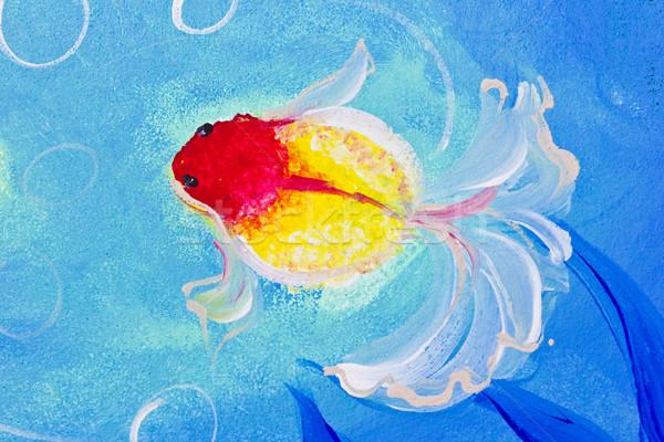 絵画 金魚 水 ツリー 魚 葉 ストックフォト © tungphoto